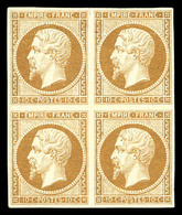 * N°13B, 10c Brun Clair En Bloc De Quatre, Frais. TTB (signé Brun/certificat)   Qualité: *   Cote: 4500 Euros - 1853-1860 Napoleon III
