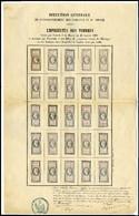 (*) Feuille Complète De Présentation Des Timbres De Warrants Et Des Effets De Commerce De 5c à 10Fr. à L'effigie De Napo - Revenue Stamps