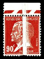 ** N°178, Pasteur, 90c Rouge: Très Grand Pli Accordéon Bdf, SUPERBE (signé Calves/certificat)   Qualité: ** - Errors & Oddities