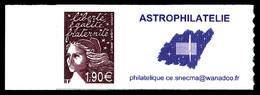 ** N°3729CA, (Maury N°15A), LUQUET 1.90€ Prune Avec Vignette Personalisée ASTROPHILATELIE (tirage 300ex). SUP. R.R. (cer - Errors & Oddities