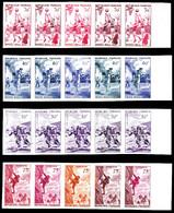 ** N°1072/75, Série Sports De 1956 En Bandes De 5 Exemplaires. SUP (certificat)   Qualité: **   Cote: 1250 Euros - Proofs
