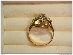 Bague De Fiancailles Or Jaune 18k, 6 Diamants Sertis, Année 1964 - Bagues