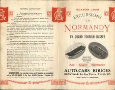 NORMANDIE - Dépliant Touristique - Excursions En Auto Cars - Plié En 4 - Dépliants Touristiques