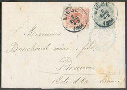 N°28 + 39 En Affr.mixte Sur Enveloppe De LIEGE 2/04/84 Vers Beaune - 12336 - 1883 Léopold II