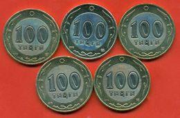 Kazakhstan .Full Set Of Coins 100 Tenges Bimetalic Of Kazakhstan.UNC. - Kazakhstan