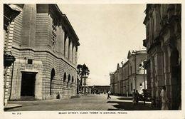 Malay Malaysia, PENANG, Beach Street, Clock Tower In Distance (1930s) RPPC - Malaysia