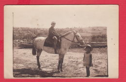 220879 / Real Photo VILLAGE Golyam Dervent / ELHOVO REGION / 1934 - LITTLE GIRL BOY Horse Cheval Hauspferd  Bulgaria - Anonymous Persons