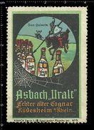 German Poster Stamp, Reklamemarke, Cinderellas, Alcohol, Alkohol, Spider Web, Spinnennetz, Spinne, Don Quixote, Horse - Spinnen