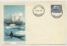 GREENLAND 1950 Ship Definitive 50 Øre On FDC.  Michel 34 - FDC