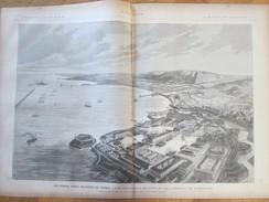 Document 1886 Grande Gravure   VUE D ENSEMBLE DU PORT ET DE L ARSENAL  DE CHERBOURG  Port Militaire - Vieux Papiers