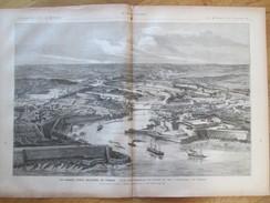 Document 1886 Grande Gravure   VUE D ENSEMBLE DU PORT ET DE L ARSENAL  DE BREST   Port Militaire - Vieux Papiers
