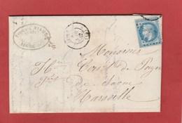Charente - Aigre - GC17 Sur N°29 - LAC (François Viaud, Négociant) 1867 Vers Marseille - Marcophilie (Lettres)