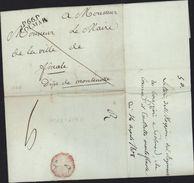 Port Payé Colmar 66 Haut Rhin Taxe 9 Manuscrite Au Dos 1808 - 1801-1848: Précurseurs XIX
