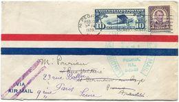 ETATS-UNIS LETTRE PAR AVION AVEC CACHET LINDBERGH.....AIR MAIL PEORIA ILL. 2-20-28 DEPART PEORIA FEB 20 1928 POUR LA.... - 1c. 1918-1940 Covers