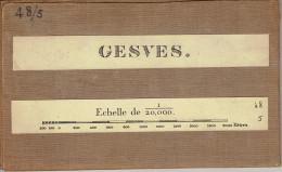 Ancienne Carte D'état Major Entoilée 48/5 Gesves Wagnée Florée Faux Les Tombes Sorinne La Longue Goyet  1/20000 - Gesves