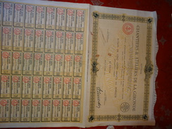 SOCIETE DES CHANTIERS ET ATELIERS DE LA GIRONDE ACTION 500 FRANCS 1922 - Industrie