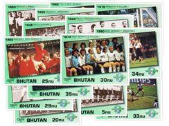 WORLD CUP HISTORY 14-STAMP MINT IMPERF STAMP SET BHUTAN 1991 MINT MNH - Fußball-Weltmeisterschaft