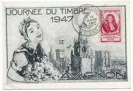"""FRANCE => Carte Locale """"Journée Du Timbre"""" 1947 - AVIGNON - Timbre Louvois - Journée Du Timbre"""
