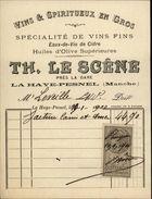 50 - LA HAYE-PESNEL - Facture - Vins Et Spiritueux Le Scêne - Huile D'olive - Eau De Vie De Cidre - France