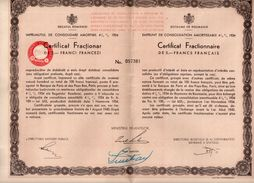 Royaume De Roumanie  - Certificat Fractionnaire De 5 Francs Français   - 1934 - Textile