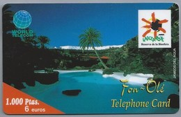 ES.- WORLD TELECOM. LANZAROTE. Reservade La Biosfera. Fon - Olé Telefhone Card. Telefonica De Espana. 2 Scans - Spanje