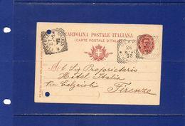 ##(YEL)-Italia26-8-1902-  Vasto (Chieti)-annullo Tondo Riquadrato Su Cartolina Postale Cent.10  Mill.902  Per   Firenze - Poststempel