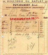 87-ST SAINT LEONARD DE NOBLAT- RARE FACTURE  MINOTERIE DU SAPLAT -PUYJOUBERT AINE-MOULIN A CYLINDRES-1940 MINOTIER - Artesanos