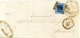 1875 Paliano - Ancona // ST. POSTALE REGNO VE II - Marcofilía