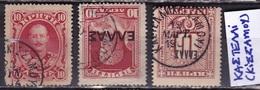 CRETE 1900 /1910 Cretan State Cancellation ΚΑΣΤΕΛΛΙ (ΚΙΣΣΑΜΟΥ) On 3 Different Stamps : Vl. 3-81-L3 - Kreta
