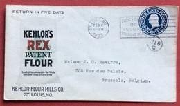 TEMATICA FIORI E PIANTE U.S.A. ST.LOUIS  KEHLOR'S REX PATENT FLOUR BUSTA DA 5 Cents PER BRUXELLES IN DATA 6/2/1923 - Altri