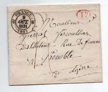 1831 - LETTRE De JONQUIERES (DECIME RURAL ROUGE) Avec TàD TYPE 12 D'ORANGE (VAUCLUSE) - 1801-1848: Précurseurs XIX