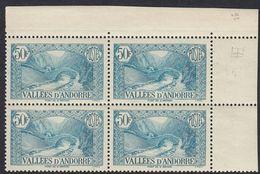 ANDORRA - 1943 - Quartina Nuova MNH Di Yvert 92 Con Margini E Angolo Di Foglio. - Französisch Andorra