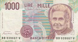 BANCONOTA 1000 LIRE MONTORSI SERIE (BB 939667 V) 1990 - ORIGINALE 100% - LEGGI - [ 2] 1946-… : République
