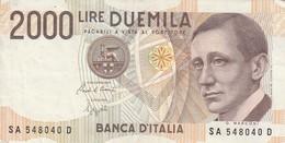 BANCONOTA 2000 LIRE MARCONI 1990 - SERIE (SA 548040 D) - ORIGINALE 100% - LEGGI - [ 2] 1946-… : Republiek