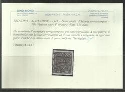 TRENTINO ALTO ADIGE 1918 SOPRASTAMPATO AUSTRIA OVERPRINTED 10K CORONE VIOLETTO USATO OBLITERE' CERTIFICATO - 8. Occupazione 1a Guerra