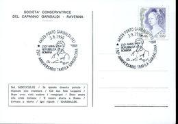 28864 Italia,special Card And Postmark 1999 Porto Garibaldi, Anniversario Trafila Garibaldina,repubblica Romana - Famous People