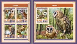 NIGER 2017 MNH** Owls Eulen Hiboux M/S+S/S - OFFICIAL ISSUE - DH1750 - Uilen