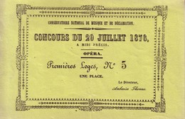 Deux Billets D'entrée Au Conservatoire De Musique Et De Déclamation Pour Les Concours Des 26 Et 29 Juillet 1876.  2 Scan - Tickets - Vouchers