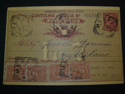 "1894.. 4 BEAUTIFUL POSTAGESTAMPS OF 20 Cent. IN A POSTALCARD "" VAGLIA ""..//..4 BEI FRANCOBOLLI DA 20 Cent. SU VAGLIA - 1900-44 Victor Emmanuel III."
