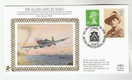 1994GB Very Ltd EDITION COVER Anniv ANZIO LANDINGS, WWII AIRCRAFT OVER BEACH Stamp Churchill - WW2