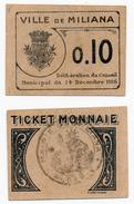 1914-1918 // ALGERIE // MILIANA // 10 Centimes - Notgeld