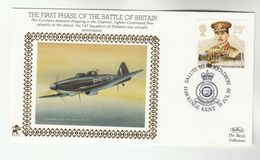 1990 Hawkinge GB Very Ltd EDITION COVER Anniv 141 Sqn BATTLE OF BRITAIN 1940 WWII Aviation Gb Stamps Raf Benham Lion - WW2