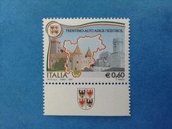 2007 ITALIA FRANCOBOLLO NUOVO STAMP NEW CON APPENDICE BANDELLA STEMMA REGIONI TRENTINO ALTO ADIGE REGIONE - 2001-10: Nieuw/plakker