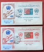 TEMATICA COSMONAUTICA AFGHANISTAN - 1963 - GIORNATA METEREOLOGICA MONDIALE. DUE FOGLIETTI SU BUSTE  KABUL 25/5/63 - Fotografia