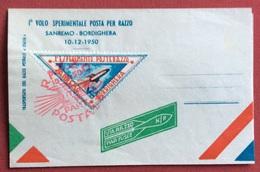 TEMATICA COSMONAUTICA    I VOLO SPERIMENTALE POSTA PER RAZZO SANREMO - BORDIGHERA 10/12/1950 - Fotografia