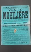 50 - SAINT-JEAN-DES-BOIS - Affiche De Vente Mobilière 1933 - Affiches