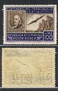 1947 SAN MARINO Posta Aerea. 100 Del CENTENARIO Francobollo Degli Stati Uniti MH * - Posta Aerea