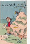 """CPA Grivoise Homme Faisant Caca Scatologie Oiseau Merle """" Tu Me Fais !!...."""" Humour Illustrateur - Illustrators & Photographers"""