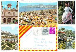 Luftpost, Faltbrief 5 Bilder, MiF Franco U.a., Las Palmas Nach Hamburg 1971 (44364) - 1931-Heute: 2. Rep. - ... Juan Carlos I