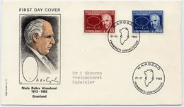 GREENLAND 1963 Bohr's Atomic Theory On FDC.  Michel 62-63 - FDC
